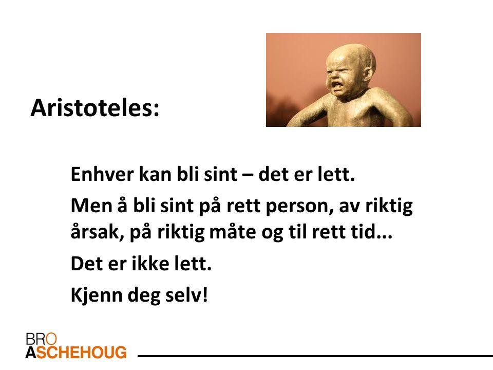 Aristoteles: Enhver kan bli sint – det er lett. Men å bli sint på rett person, av riktig årsak, på riktig måte og til rett tid... Det er ikke lett. Kj