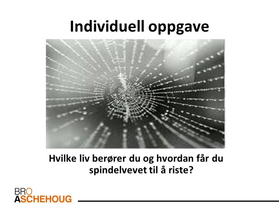 Individuell oppgave Hvilke liv berører du og hvordan får du spindelvevet til å riste?