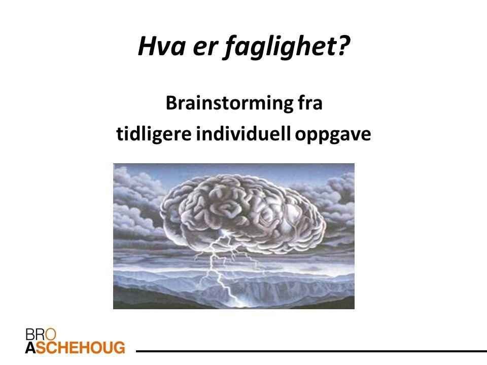 Hva er faglighet? Brainstorming fra tidligere individuell oppgave