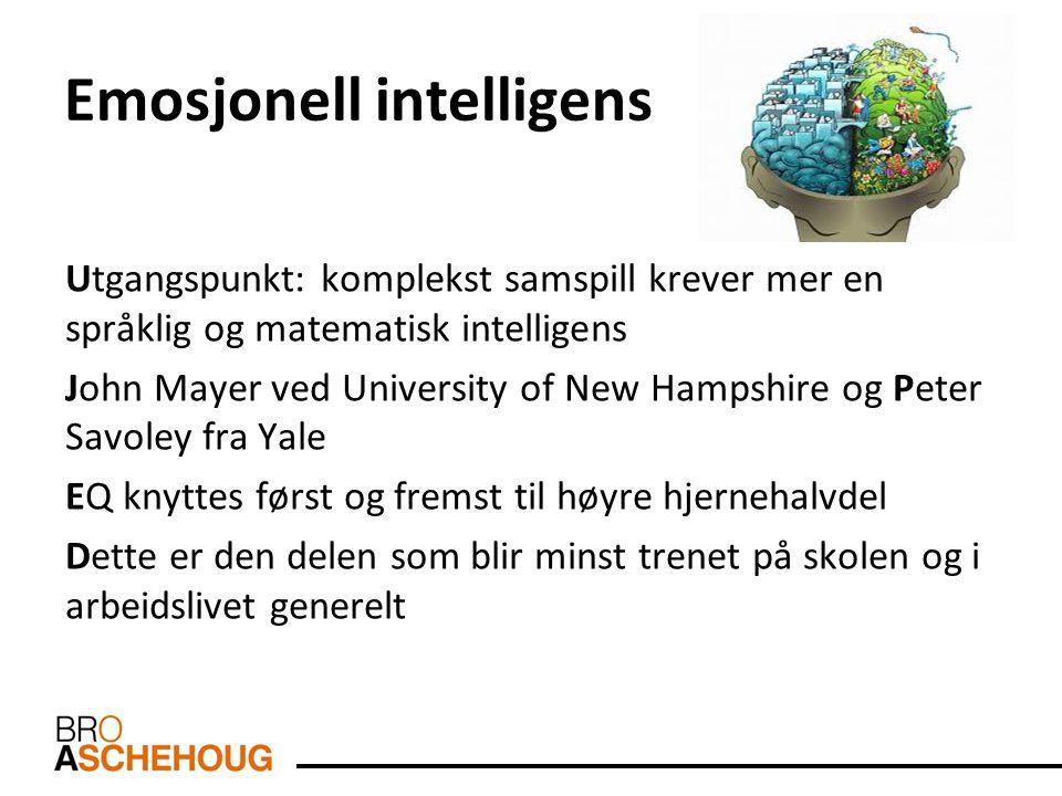 Emosjonell intelligens Utgangspunkt: komplekst samspill krever mer en språklig og matematisk intelligens John Mayer ved University of New Hampshire og
