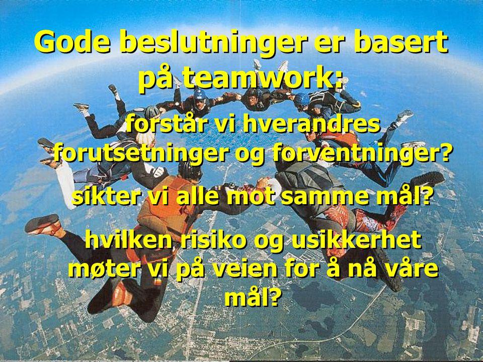 4 Gode beslutninger er basert på teamwork: forstår vi hverandres forutsetninger og forventninger? sikter vi alle mot samme mål? hvilken risiko og usik
