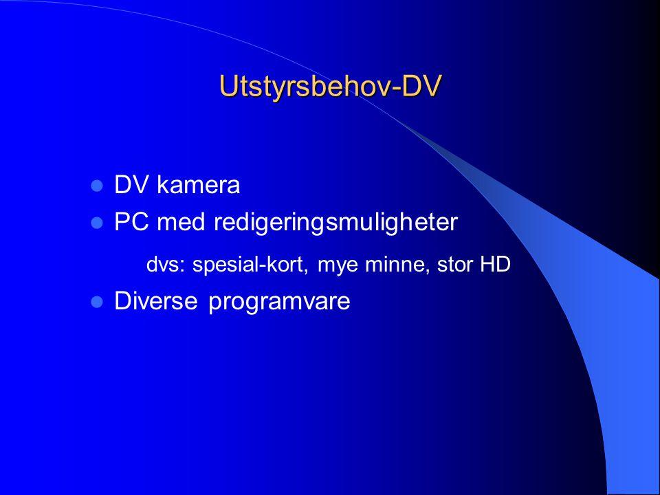 Utstyrsbehov-DV  DV kamera  PC med redigeringsmuligheter dvs: spesial-kort, mye minne, stor HD  Diverse programvare