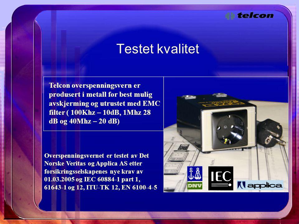 Testet kvalitet Telcon overspenningsvern er produsert i metall for best mulig avskjerming og utrustet med EMC filter ( 100Khz – 10dB, 1Mhz 28 dB og 40