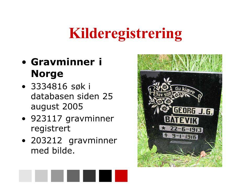Kilderegistrering •Gravminner i Norge •3334816 søk i databasen siden 25 august 2005 •923117 gravminner registrert •203212 gravminner med bilde.