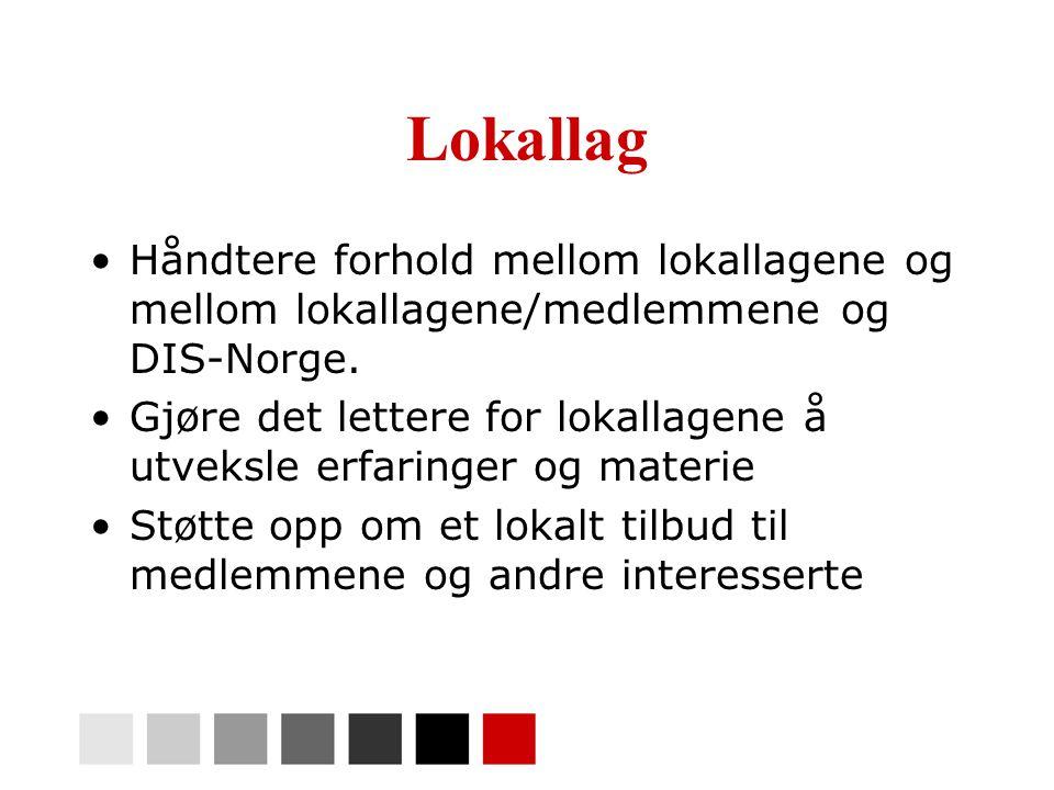 Lokallag •Håndtere forhold mellom lokallagene og mellom lokallagene/medlemmene og DIS-Norge. •Gjøre det lettere for lokallagene å utveksle erfaringer