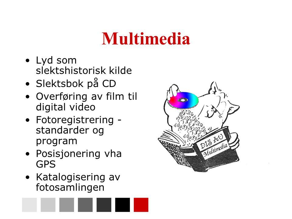 Multimedia •Lyd som slektshistorisk kilde •Slektsbok på CD •Overføring av film til digital video •Fotoregistrering - standarder og program •Posisjonering vha GPS •Katalogisering av fotosamlingen