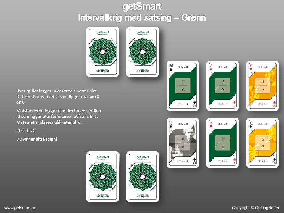 Hver spiller legger ut det tredje kortet sitt. Ditt kort har verdien 3 som ligger mellom 0 og 6. Motstanderen legger ut et kort med verdien -3 som lig