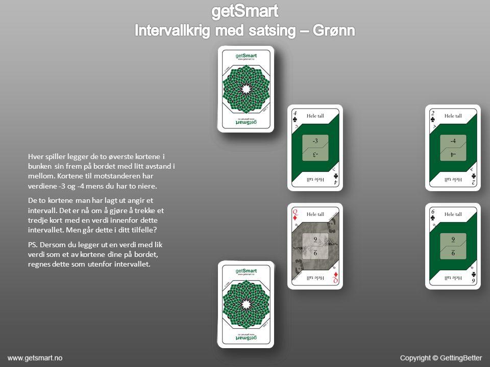 Hver spiller legger de to øverste kortene i bunken sin frem på bordet med litt avstand i mellom. Kortene til motstanderen har verdiene -3 og -4 mens d