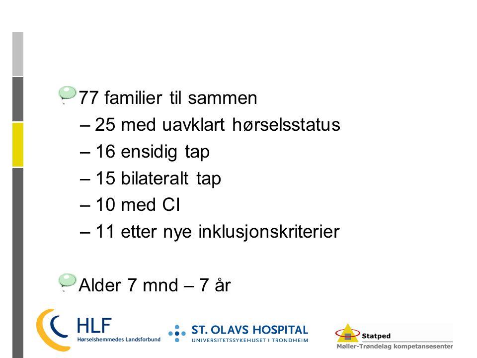 77 familier til sammen –25 med uavklart hørselsstatus –16 ensidig tap –15 bilateralt tap –10 med CI –11 etter nye inklusjonskriterier Alder 7 mnd – 7