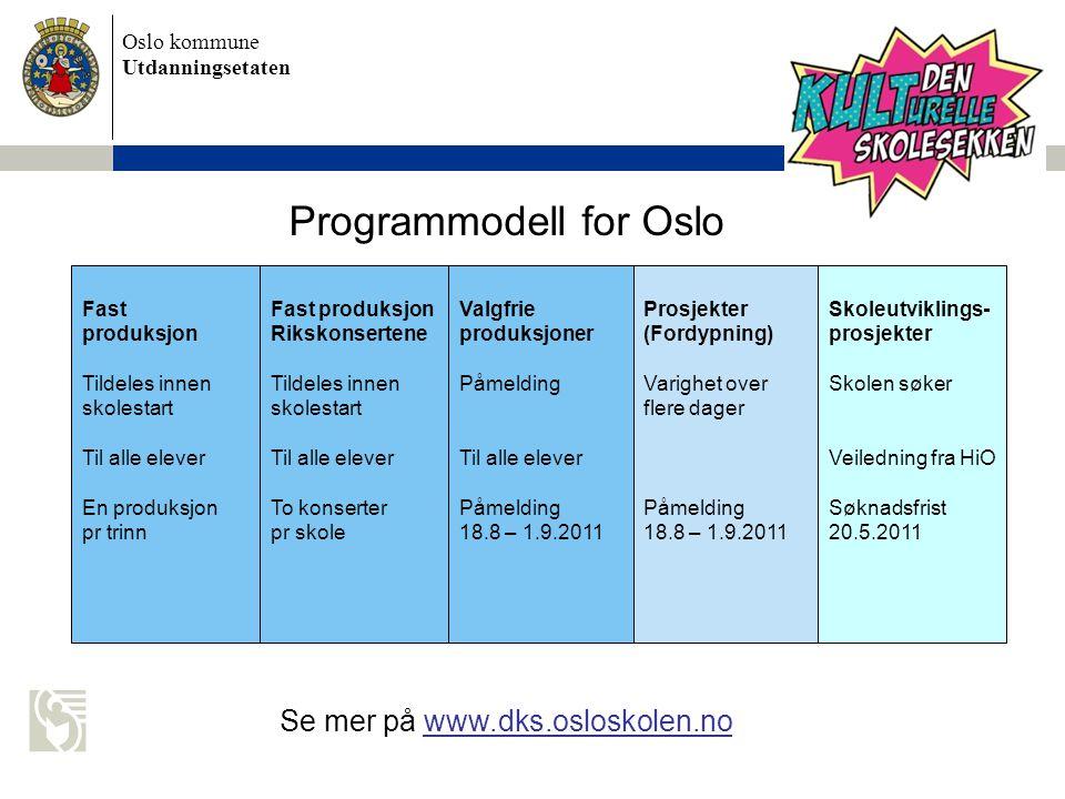 Oslo kommune Utdanningsetaten  Faste produksjoner og Rikskonsertene tildeles skolen.