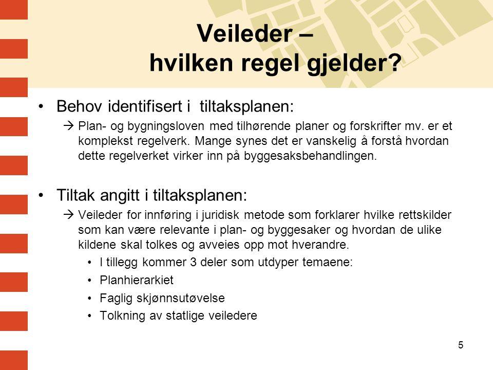 5 Veileder – hvilken regel gjelder? •Behov identifisert i tiltaksplanen:  Plan- og bygningsloven med tilhørende planer og forskrifter mv. er et kompl