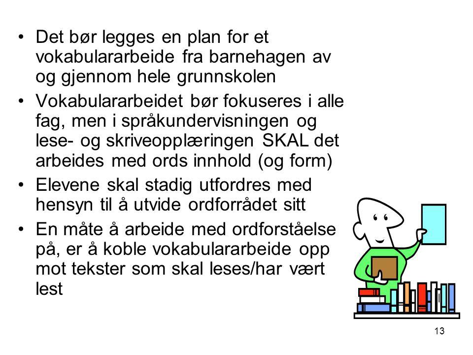 13 •Det bør legges en plan for et vokabulararbeide fra barnehagen av og gjennom hele grunnskolen •Vokabulararbeidet bør fokuseres i alle fag, men i sp