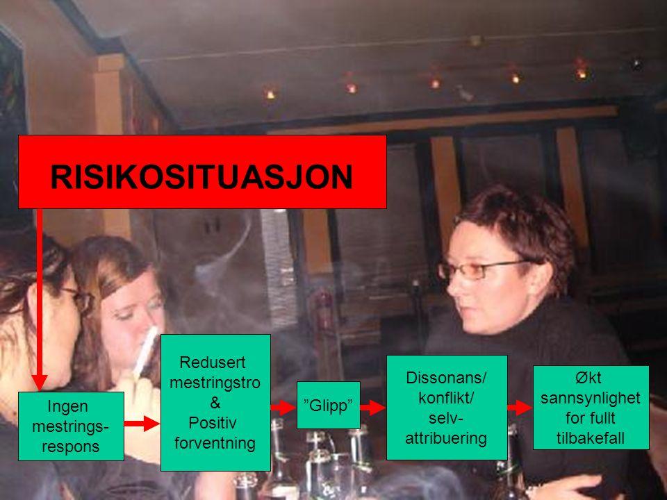 Håvar Brendryen, Stipendiat, Psykologisk institutt Økt sannsynlighet for fullt tilbakefall Glipp Redusert mestringstro & Positiv forventning Ingen mestrings- respons Dissonans/ konflikt/ selv- attribuering RISIKOSITUASJON