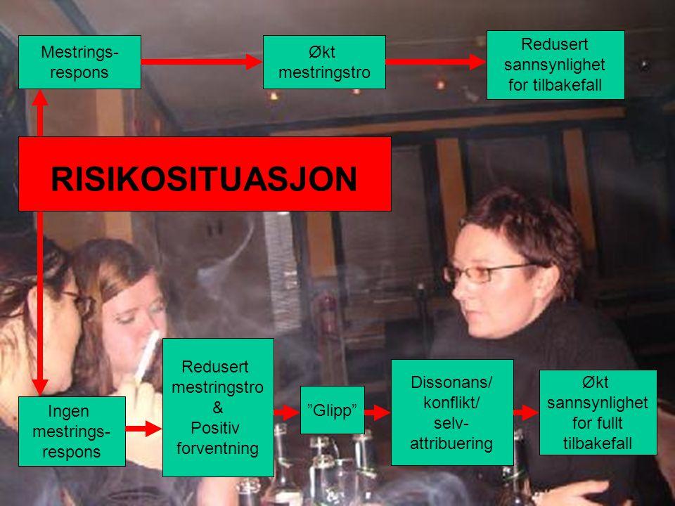 Håvar Brendryen, Stipendiat, Psykologisk institutt Mestrings- respons Økt sannsynlighet for fullt tilbakefall Glipp Redusert mestringstro & Positiv forventning Redusert sannsynlighet for tilbakefall Økt mestringstro Ingen mestrings- respons Dissonans/ konflikt/ selv- attribuering RISIKOSITUASJON