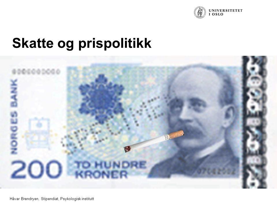 Håvar Brendryen, Stipendiat, Psykologisk institutt Skatte og prispolitikk