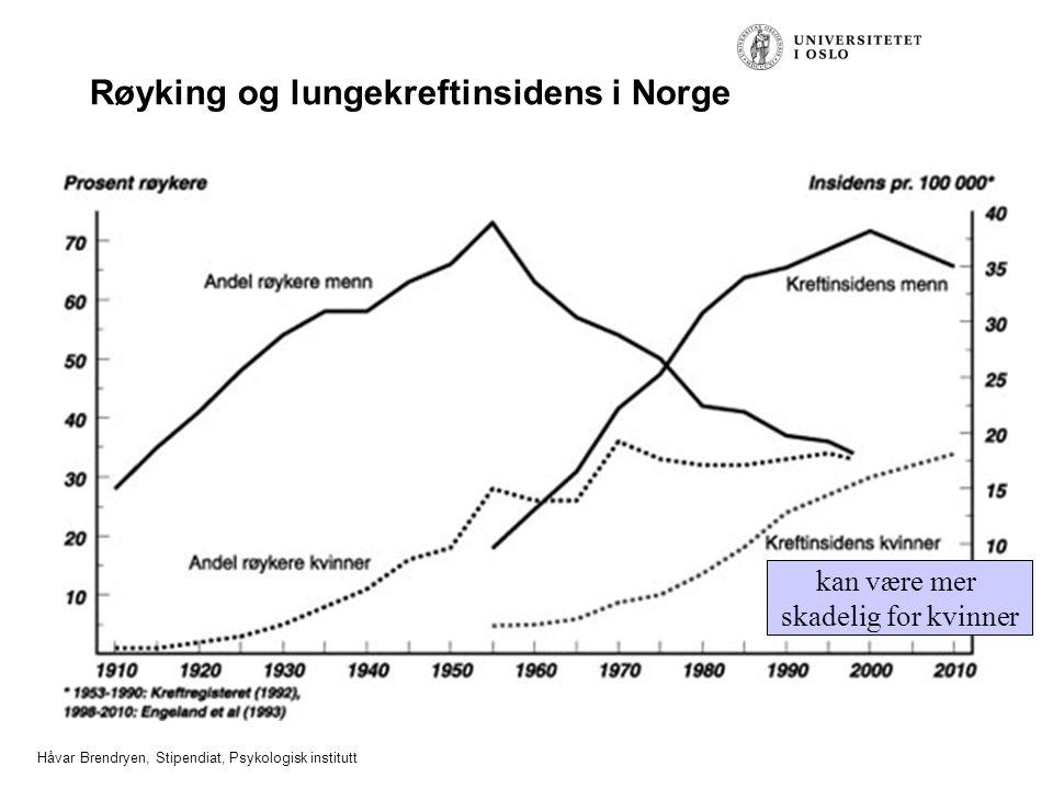 Håvar Brendryen, Stipendiat, Psykologisk institutt Røyking og lungekreftinsidens i Norge kan være mer skadelig for kvinner