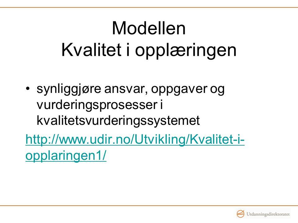 Modellen Kvalitet i opplæringen •synliggjøre ansvar, oppgaver og vurderingsprosesser i kvalitetsvurderingssystemet http://www.udir.no/Utvikling/Kvalit