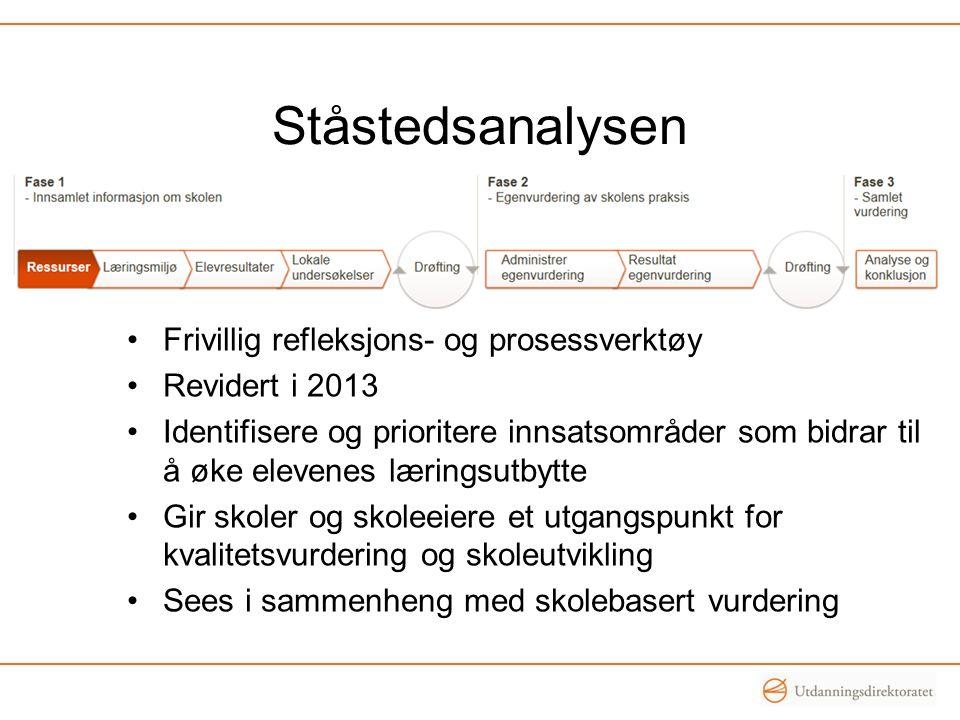 Ståstedsanalysen •Frivillig refleksjons- og prosessverktøy •Revidert i 2013 •Identifisere og prioritere innsatsområder som bidrar til å øke elevenes l
