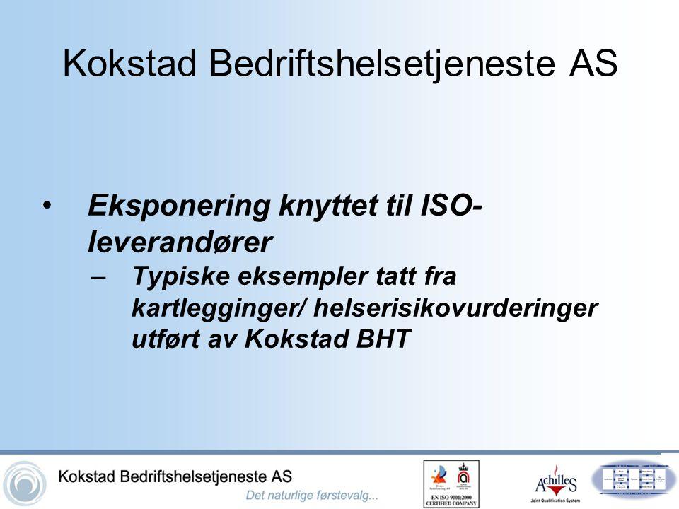 Kokstad Bedriftshelsetjeneste AS •Eksponering knyttet til ISO- leverandører –Typiske eksempler tatt fra kartlegginger/ helserisikovurderinger utført a