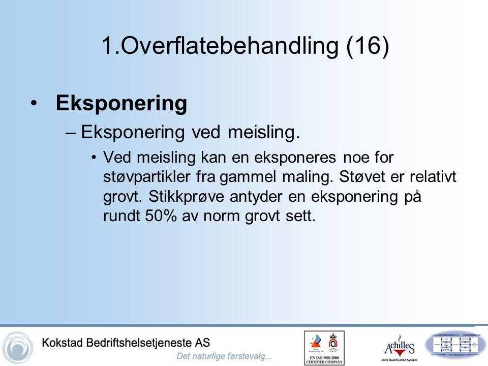 1.Overflatebehandling (16) •Eksponering –Eksponering ved meisling. •Ved meisling kan en eksponeres noe for støvpartikler fra gammel maling. Støvet er