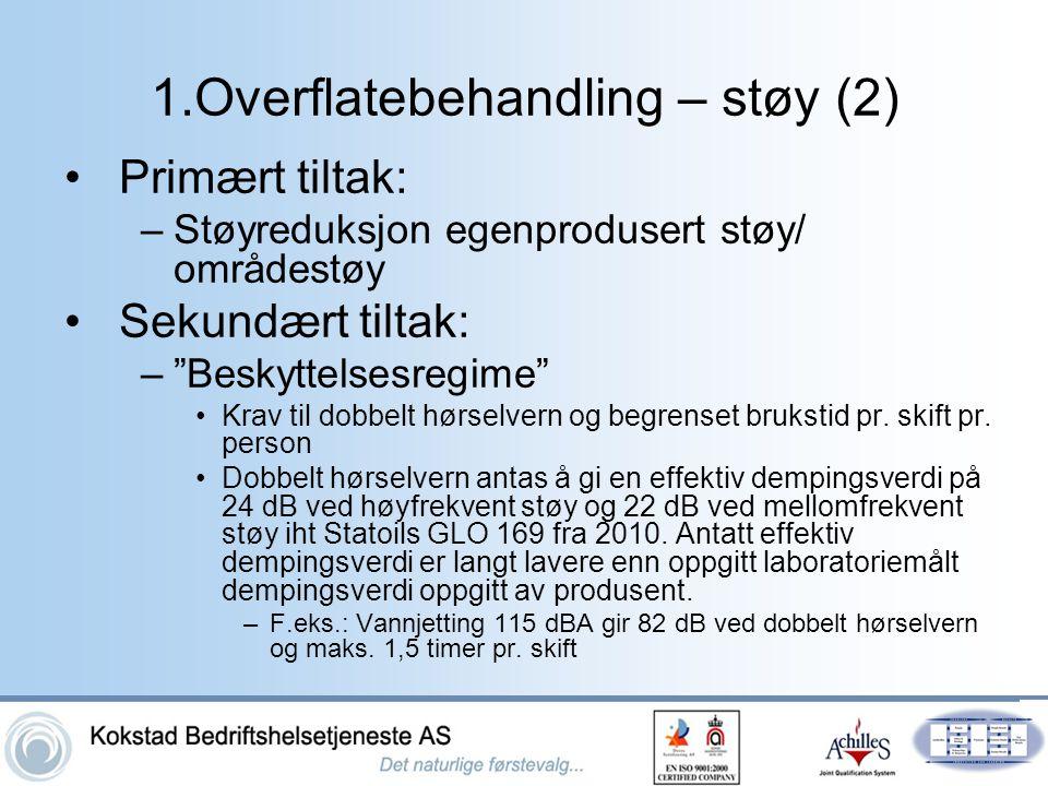 """1.Overflatebehandling – støy (2) •Primært tiltak: –Støyreduksjon egenprodusert støy/ områdestøy •Sekundært tiltak: –""""Beskyttelsesregime"""" •Krav til dob"""