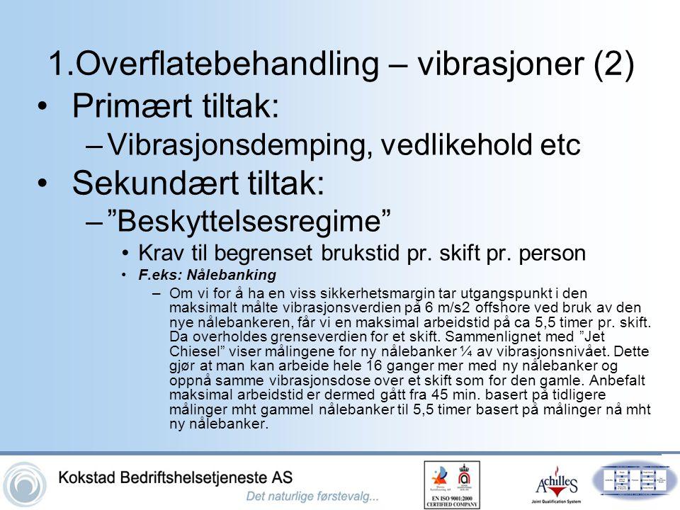 """1.Overflatebehandling – vibrasjoner (2) •Primært tiltak: –Vibrasjonsdemping, vedlikehold etc •Sekundært tiltak: –""""Beskyttelsesregime"""" •Krav til begren"""