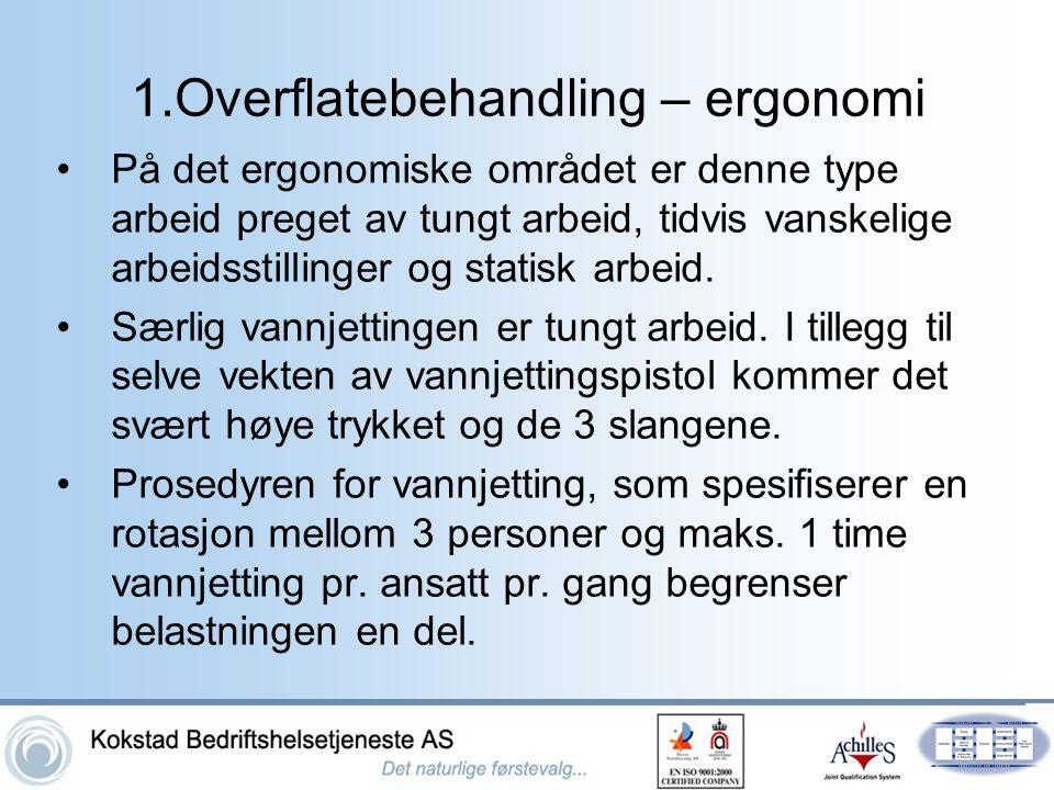 1.Overflatebehandling – ergonomi •På det ergonomiske området er denne type arbeid preget av tungt arbeid, tidvis vanskelige arbeidsstillinger og stati