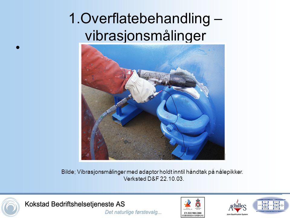 1.Overflatebehandling – vibrasjonsmålinger • Bilde; Vibrasjonsmålinger med adaptor holdt inntil håndtak på nålepikker. Verksted D&F 22.10.03.