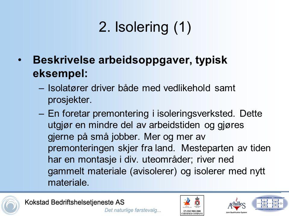 2. Isolering (1) •Beskrivelse arbeidsoppgaver, typisk eksempel: –Isolatører driver både med vedlikehold samt prosjekter. –En foretar premontering i is