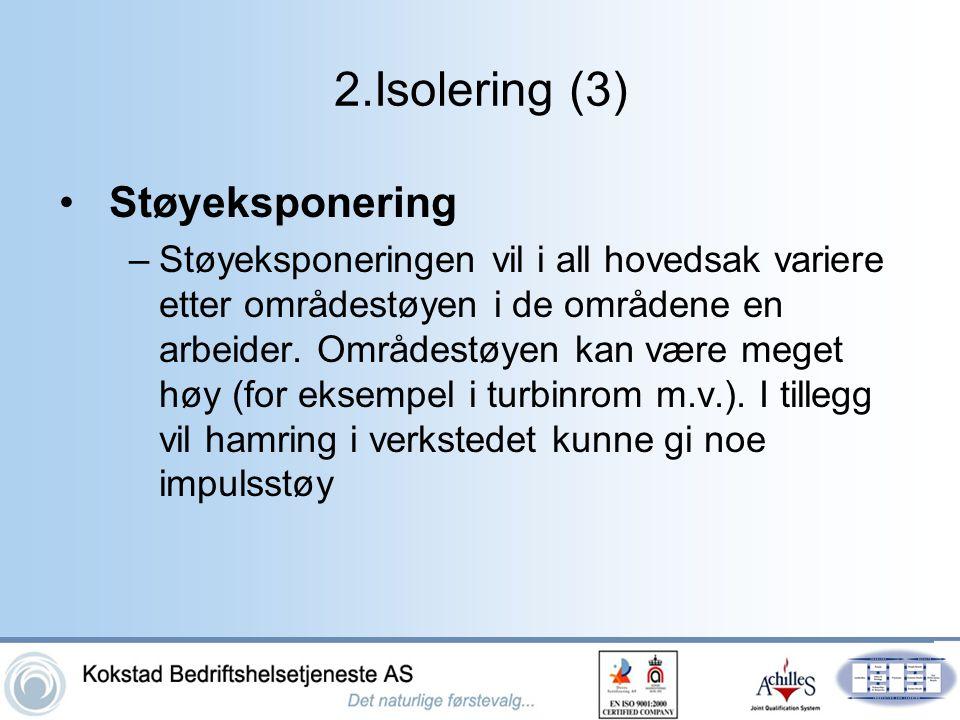 2.Isolering (3) •Støyeksponering –Støyeksponeringen vil i all hovedsak variere etter områdestøyen i de områdene en arbeider. Områdestøyen kan være meg