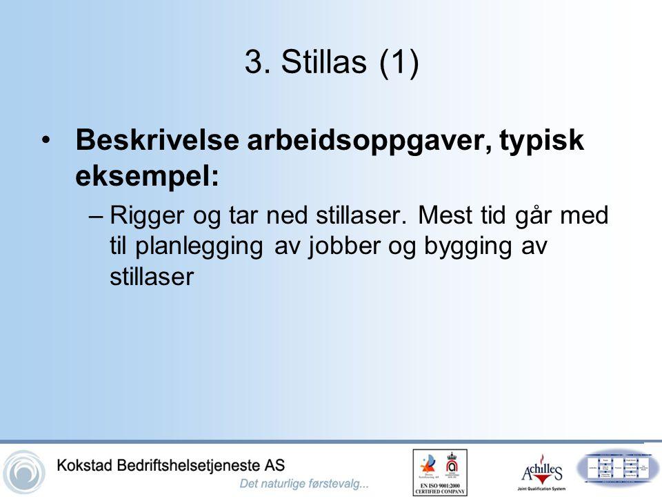 3. Stillas (1) •Beskrivelse arbeidsoppgaver, typisk eksempel: –Rigger og tar ned stillaser. Mest tid går med til planlegging av jobber og bygging av s
