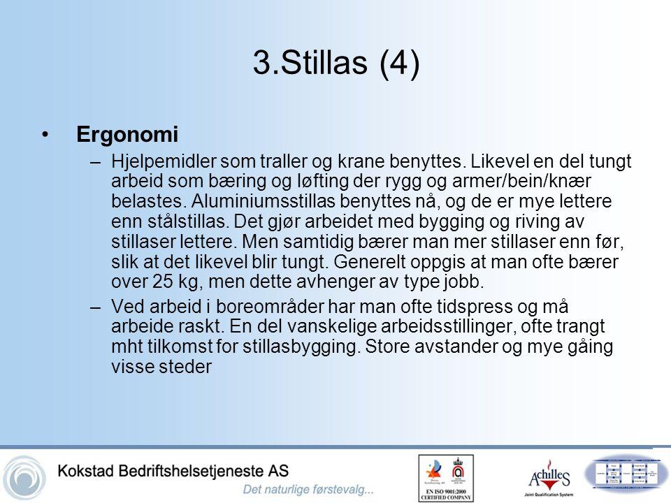 3.Stillas (4) •Ergonomi –Hjelpemidler som traller og krane benyttes. Likevel en del tungt arbeid som bæring og løfting der rygg og armer/bein/knær bel
