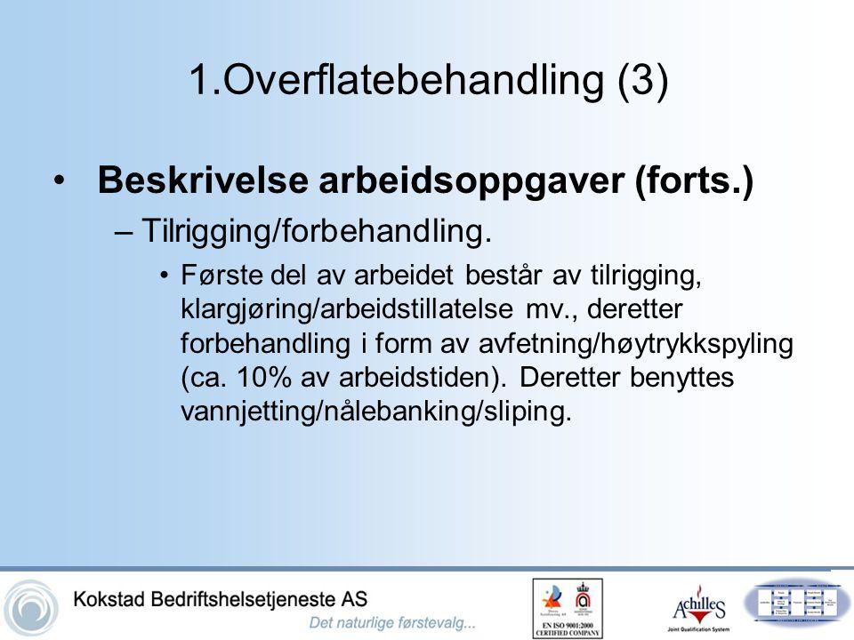 1.Overflatebehandling (3) •Beskrivelse arbeidsoppgaver (forts.) –Tilrigging/forbehandling. •Første del av arbeidet består av tilrigging, klargjøring/a