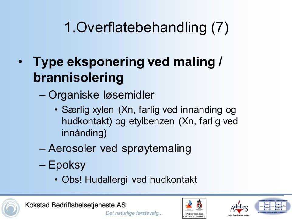 1.Overflatebehandling (7) •Type eksponering ved maling / brannisolering –Organiske løsemidler •Særlig xylen (Xn, farlig ved innånding og hudkontakt) o