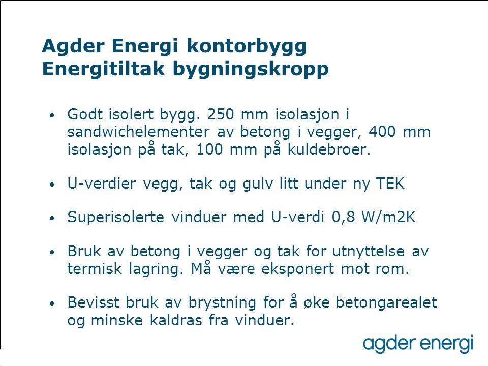 Agder Energi kontorbygg Energitiltak bygningskropp • Godt isolert bygg. 250 mm isolasjon i sandwichelementer av betong i vegger, 400 mm isolasjon på t