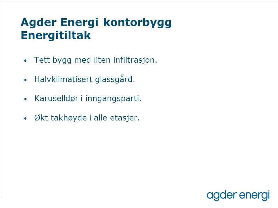 Agder Energi kontorbygg Energitiltak • Tett bygg med liten infiltrasjon. • Halvklimatisert glassgård. • Karuselldør i inngangsparti. • Økt takhøyde i