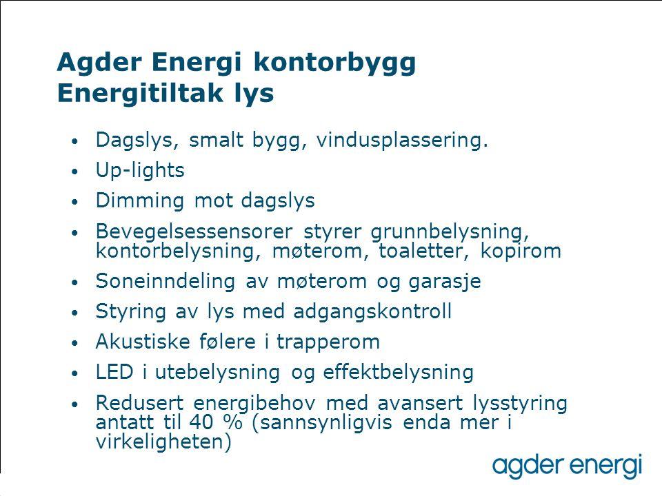 Agder Energi kontorbygg Energitiltak lys • Dagslys, smalt bygg, vindusplassering. • Up-lights • Dimming mot dagslys • Bevegelsessensorer styrer grunnb