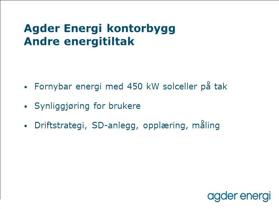 Agder Energi kontorbygg Andre energitiltak • Fornybar energi med 450 kW solceller på tak • Synliggjøring for brukere • Driftstrategi, SD-anlegg, opplæ