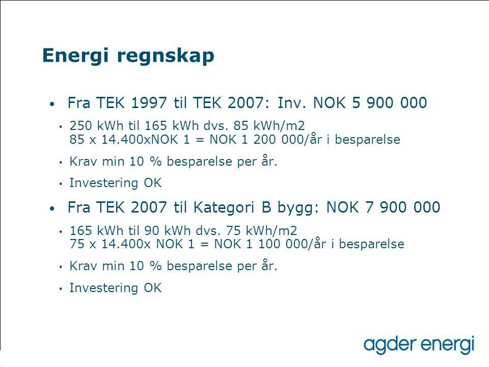 Energi regnskap • Fra TEK 1997 til TEK 2007: Inv. NOK 5 900 000 • 250 kWh til 165 kWh dvs. 85 kWh/m2 85 x 14.400xNOK 1 = NOK 1 200 000/år i besparelse
