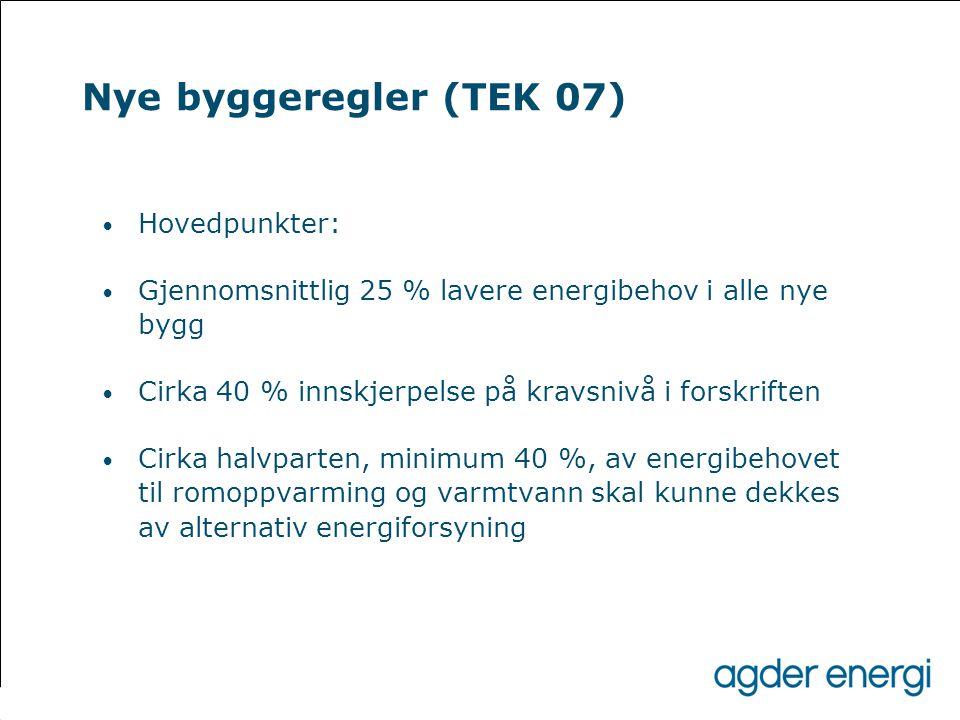 Nye byggeregler (TEK 07) • Hovedpunkter: • Gjennomsnittlig 25 % lavere energibehov i alle nye bygg • Cirka 40 % innskjerpelse på kravsnivå i forskrift