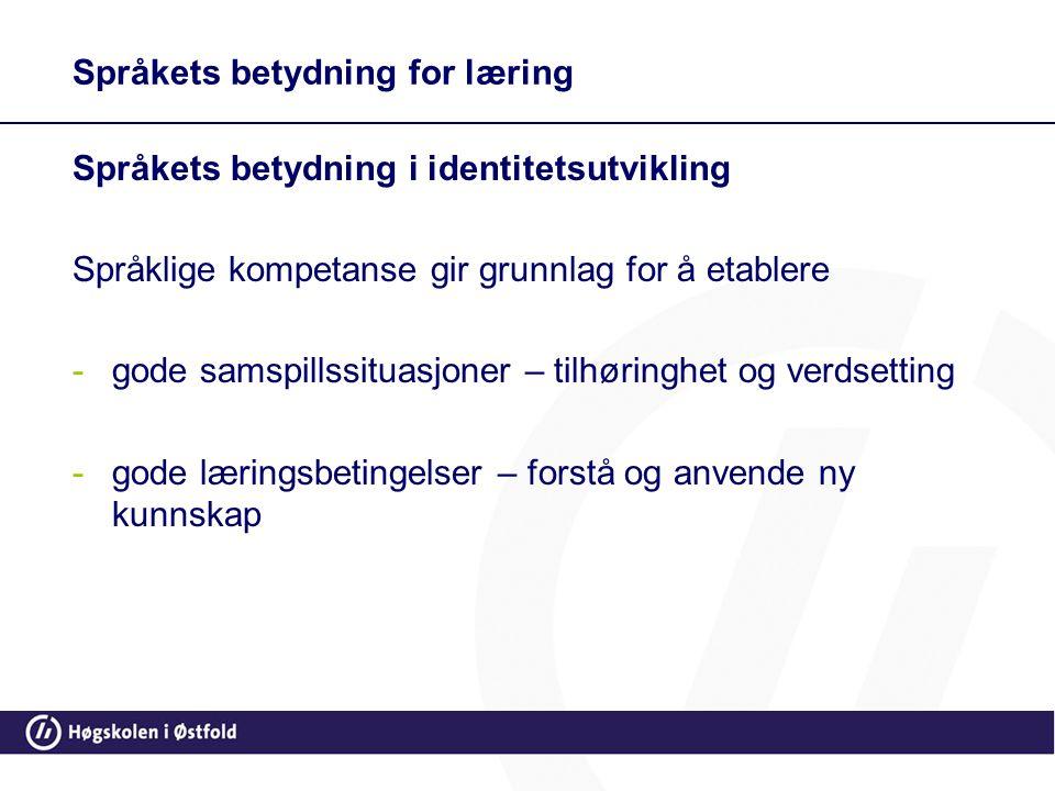 Språkets betydning for læring Språkets betydning i identitetsutvikling Språklige kompetanse gir grunnlag for å etablere -gode samspillssituasjoner – t