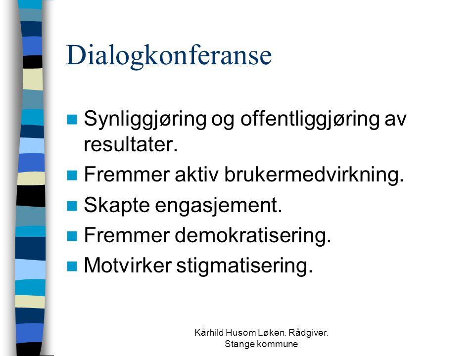 Kårhild Husom Løken. Rådgiver. Stange kommune Dialogkonferanse  Synliggjøring og offentliggjøring av resultater.  Fremmer aktiv brukermedvirkning. 