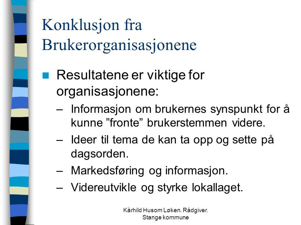 Kårhild Husom Løken. Rådgiver. Stange kommune Konklusjon fra Brukerorganisasjonene  Resultatene er viktige for organisasjonene: –Informasjon om bruke