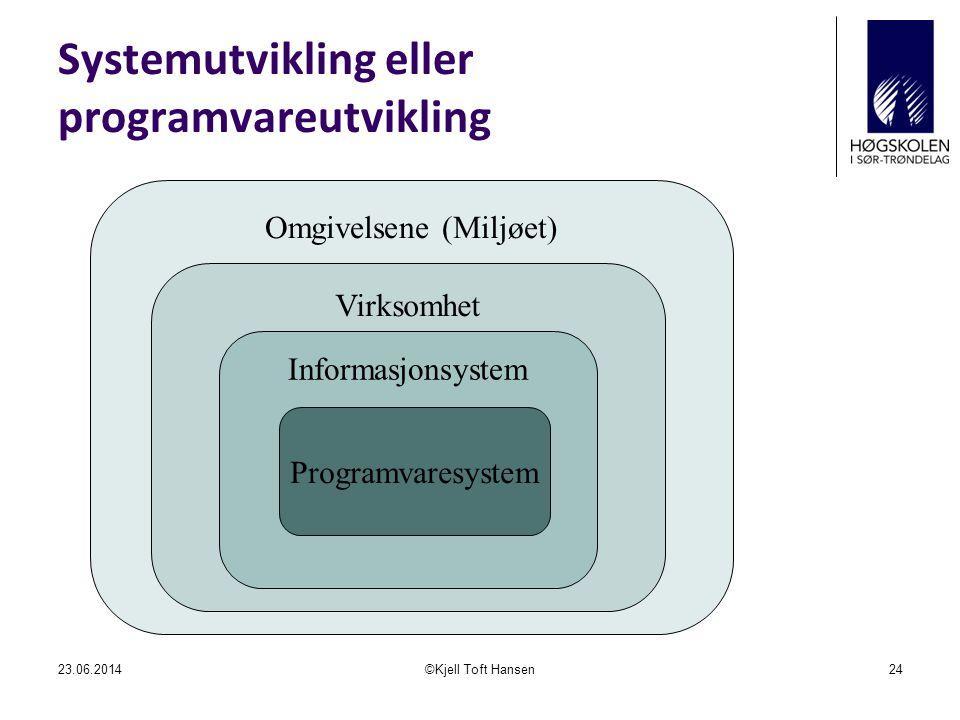 Systemutvikling eller programvareutvikling 23.06.2014©Kjell Toft Hansen24 Omgivelsene (Miljøet) Virksomhet Informasjonsystem Programvaresystem