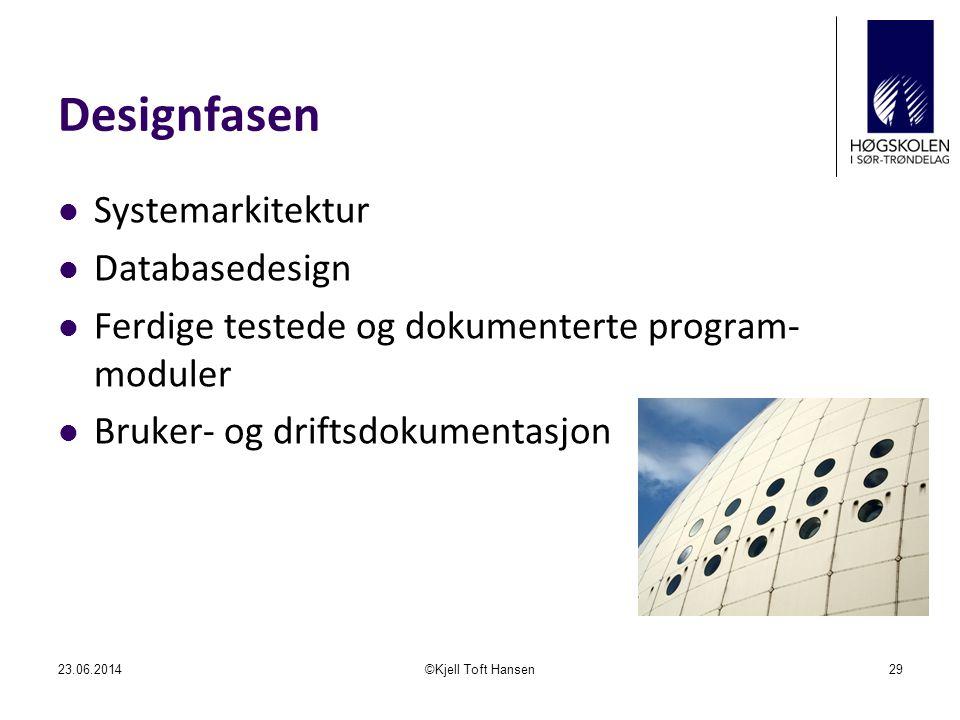 Designfasen  Systemarkitektur  Databasedesign  Ferdige testede og dokumenterte program- moduler  Bruker- og driftsdokumentasjon 23.06.2014©Kjell Toft Hansen29