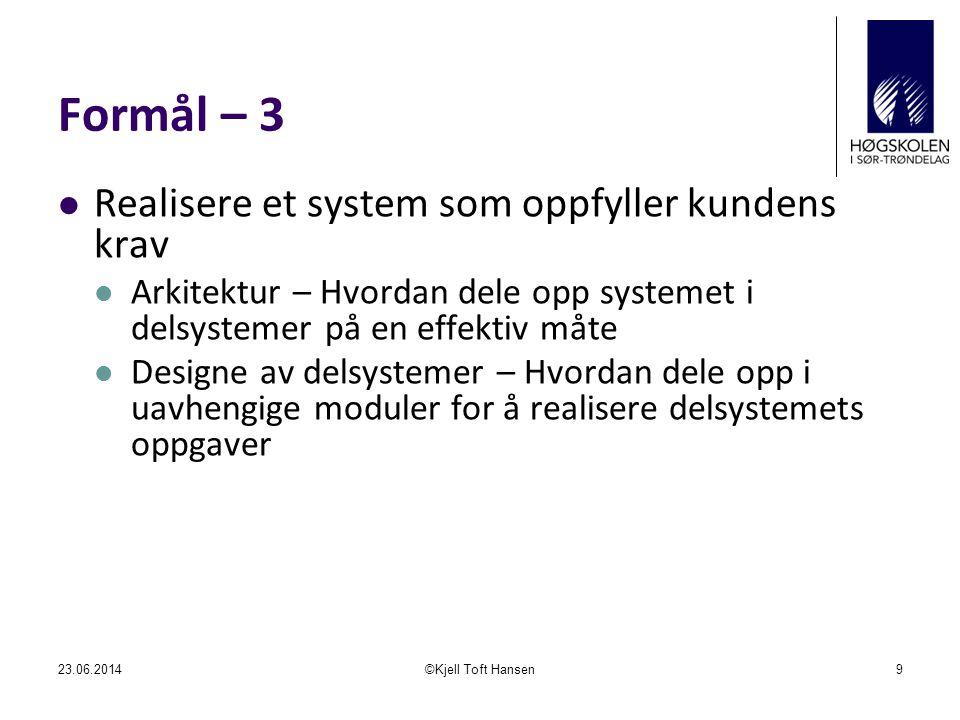  En overordnet framgangsmåtebeskrivelse/ rammeverk for systemutvikling  Fossefallsmodellen  Prototyping (eksperimentell systemutvikling)  Evolusjonær systemutvikling  eXtrem programmering 23.06.2014©Kjell Toft Hansen20