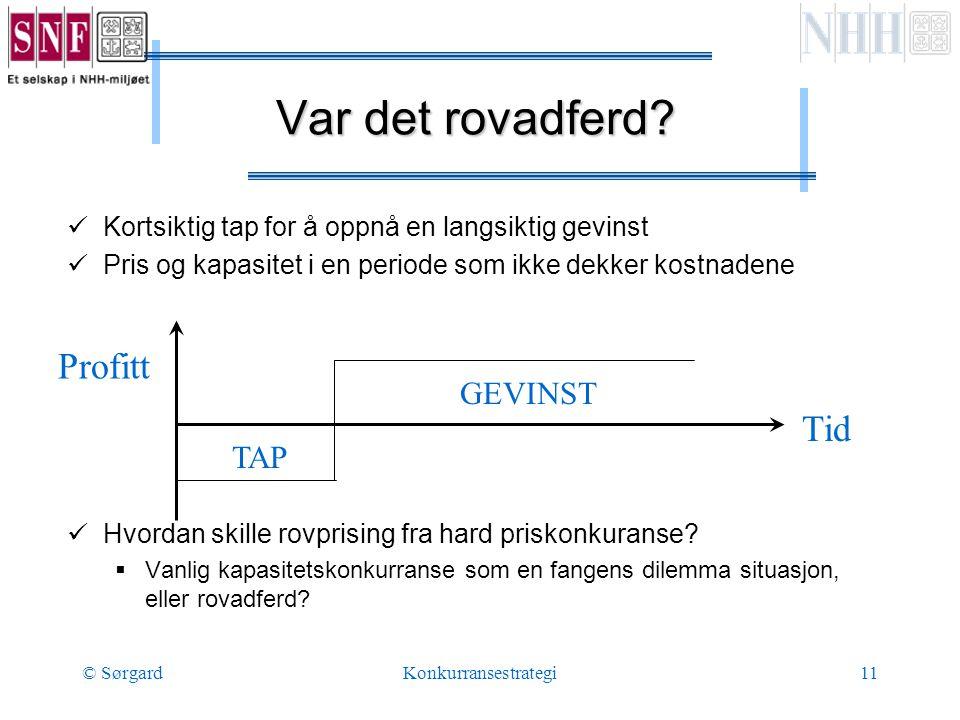 © SørgardKonkurransestrategi11 Var det rovadferd.