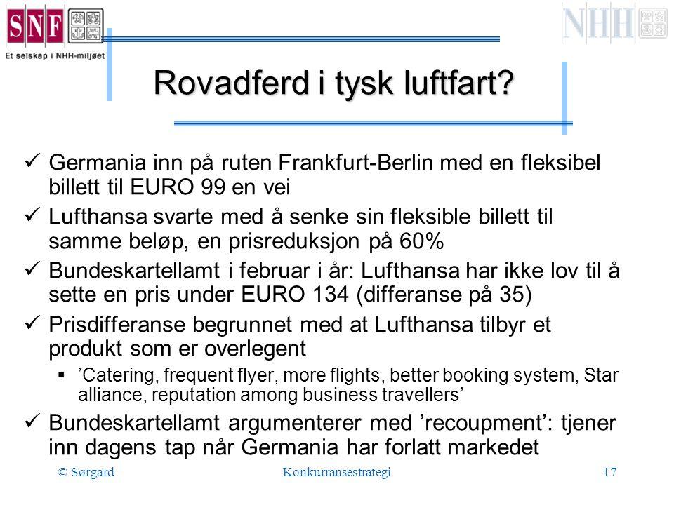 © SørgardKonkurransestrategi17 Rovadferd i tysk luftfart.