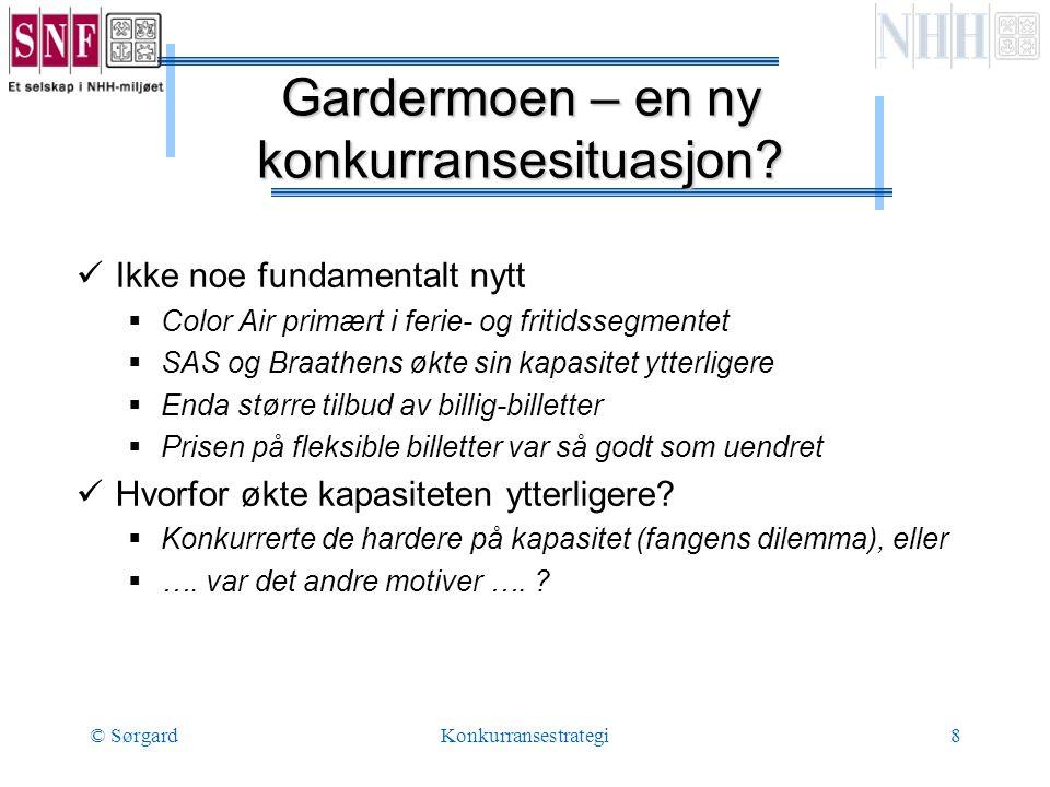© SørgardKonkurransestrategi8 Gardermoen – en ny konkurransesituasjon.