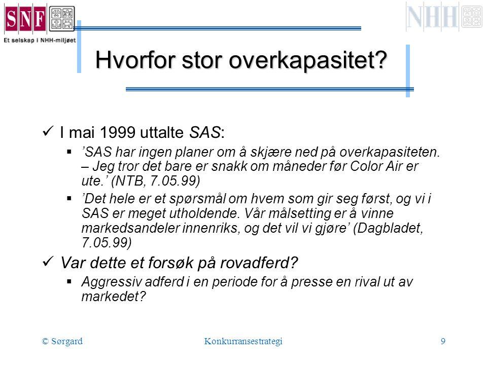 © SørgardKonkurransestrategi9 Hvorfor stor overkapasitet.